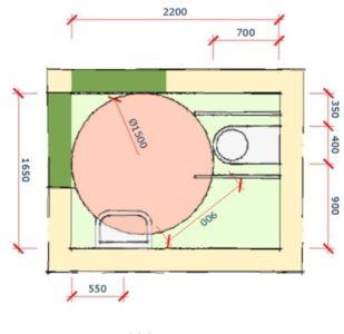 afmetingen toegankelijk toilet 1650 bij 2200 cm